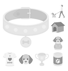 pet dog monochrome icons in set collection for vector image