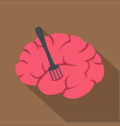 Pink brain with fork icon flat style vector
