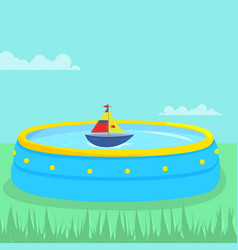Plastic pool with swimming boat inside vector