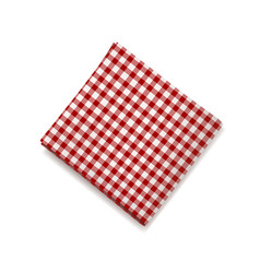 red napkin on a white background plaid gingham vector image