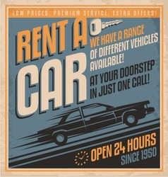 Retro promotional label for car rentals vector image