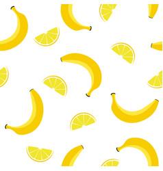 seamless pattern with lemons and bananas vector image