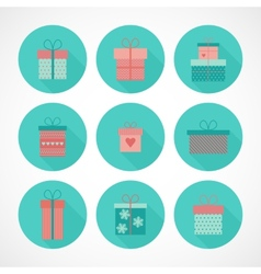 Set flat gift icons vector