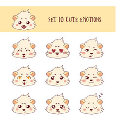 set of 10 colored funny cavy emoticons vector image