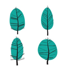 Set of abstract stylized of trees vector image