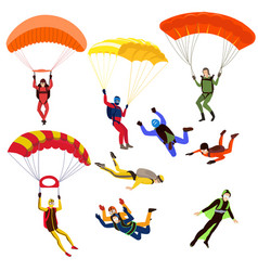 Set of parachutists involved in dangerous sports vector