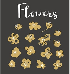 Set of stylish grunge gold flowers painted dry ink vector