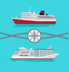 Ships and rope with compass vector