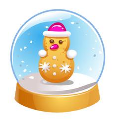 snow globe with snowman inside isolated on white vector image