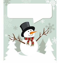 Snowman Christmas with dialogue balloon vector