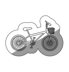 Sticker monochrome contour of bike with basket in vector