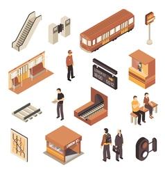 Subway Metro Station Isometric Elements Set vector