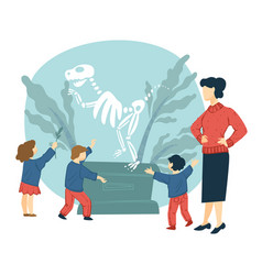 teacher and children in history museum excursion vector image