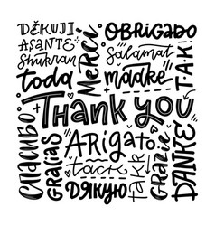 thank you phrases in many languages thanks modern vector image