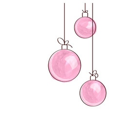 Three pink watercolor Christmas tree balls vector image