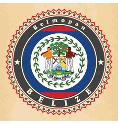 Vintage label cards of Belize flag vector