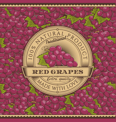 Vintage red grapes label on seamless pattern vector