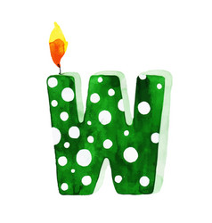 Watercolor happy birthday letter w candle vector