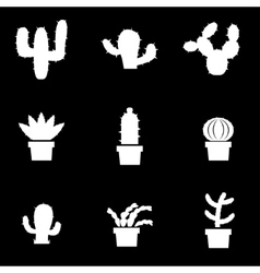 White cactus icon set vector