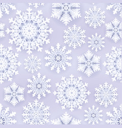 White paper snowflakes on grey seamless background vector