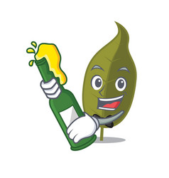 With beer bay leaf mascot cartoon vector