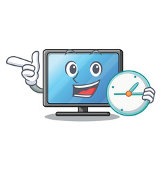 with clock lcd tv above wooden cartoon table vector image