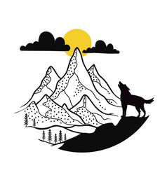 with howling wolf silhouette and outdoor mountain vector image
