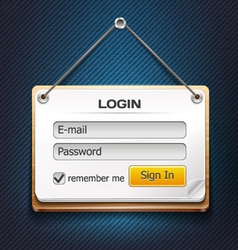 Wooden login form hanging on a string vector