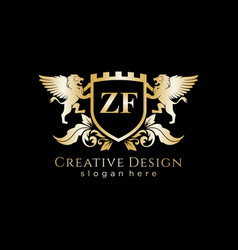 zf letter initial with lion royal logo template vector image