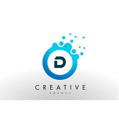d letter logo blue dots bubble design vector image