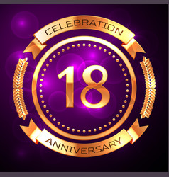 eighteen years anniversary celebration with golden vector image vector image