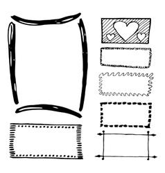 Hand drawn rectangle frames set vector