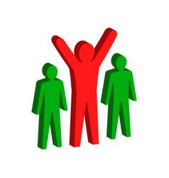 leadership teamwork concept symbol flat isometric vector image vector image