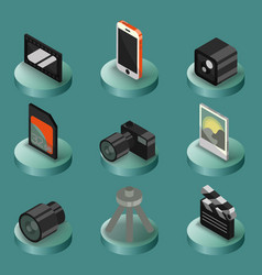 photo color isometric icons vector image vector image