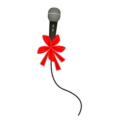 A Beautiful Modern Microphone with Red Ribbon vector image vector image