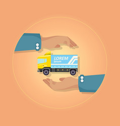 blue large truck with emblem on orange background vector image vector image