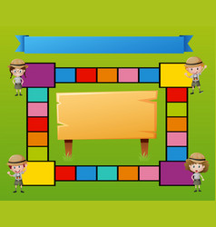boardgame template with kids in safari outfit vector image