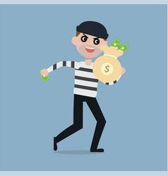 burglar running away with bag of money vector image vector image