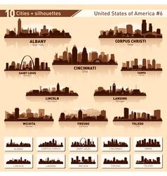 City skyline set 10 city silhouettes of USA 6 vector image