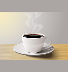coffee cup on the wooden table in the morning vector image