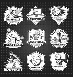 hand drawn basketball emblems set vector image