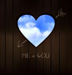 heart shape cut into wood vector image