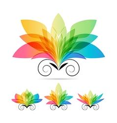 Set color art flowers vector image