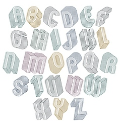3d font with lines textures simple shaped bold vector