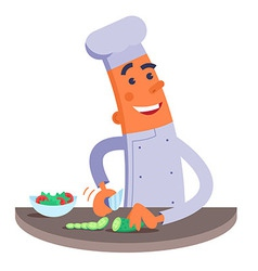 Cartoon chef cuts the vegetables for salad vector image vector image