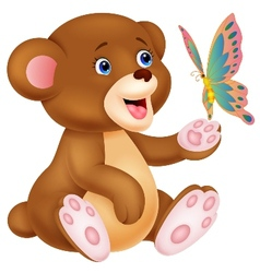 Cute cartoon baby bear playing with butterfly vector image vector image