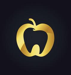 Gold apple fruit tooth dentist logo vector