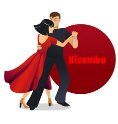 kizomba dancing couple in cartoon style vector image