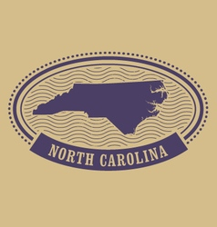 Oval stamp with North Carolina map silhouette vector image vector image