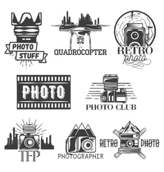 photography theme set in vintage style vector image vector image